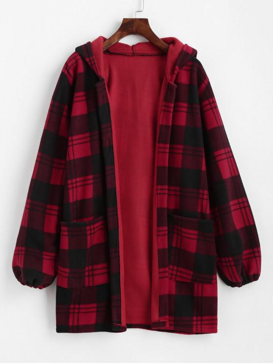 womens Hooded Plaid Button Up Flannel Coat - RED S