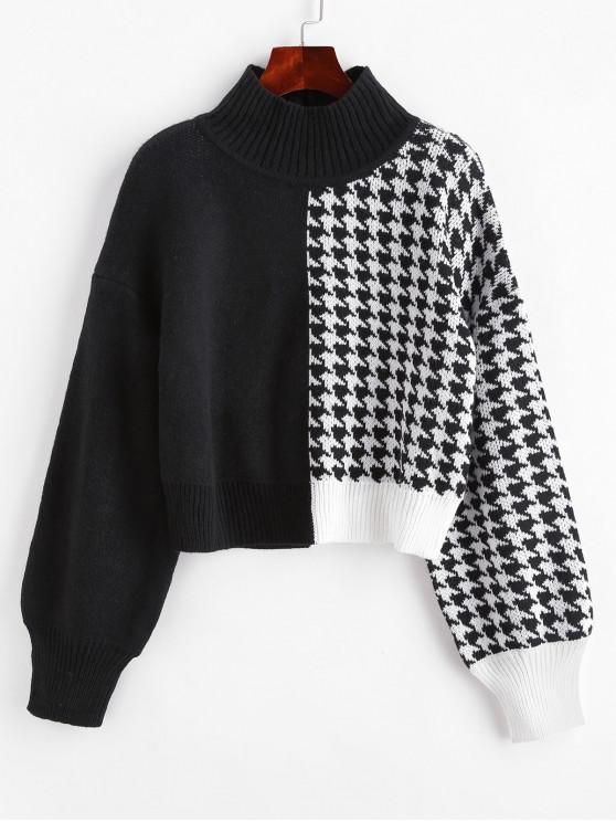 outfits ZAFUL Mock Neck Houndstooth Colorblock Jumper Sweater - MULTI L