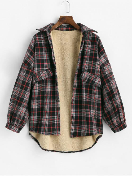 womens Snap Button Fleece Line Plaid Cargo Jacket - RED M