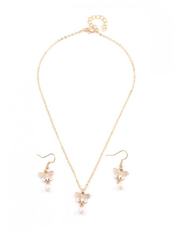 womens Artificial Pearl Butterfly Chain Necklace and Hook Earrings - GOLD