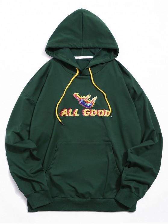 affordable ZAFUL Graphic Letter Kangaroo Pocket Hoodie - MEDIUM SEA GREEN XL