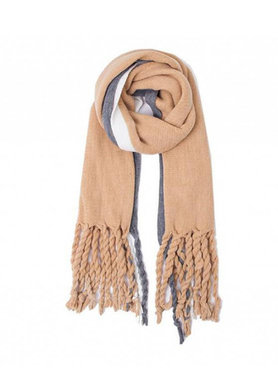 outfits Colorblock Striped Twist Fringe Scarf - CAMEL BROWN