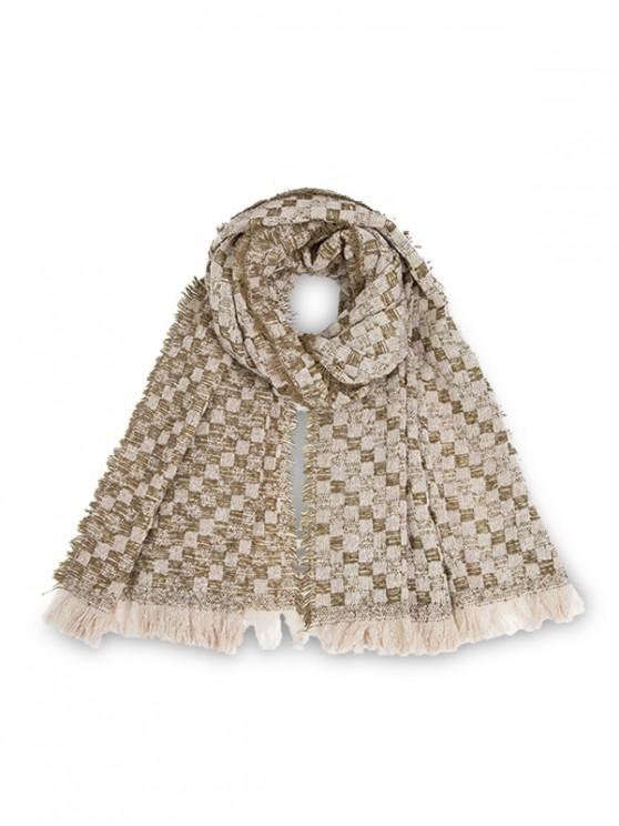 women's Plaid Pattern Fringed Long Scarf - ARMY GREEN