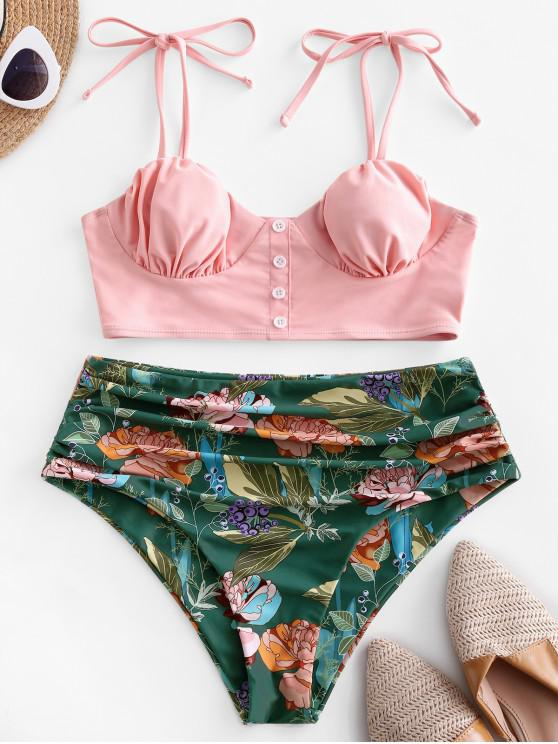 outfits ZAFUL Flower Tie Shoulder Ruched High Cut Tankini Swimsuit - PINK S