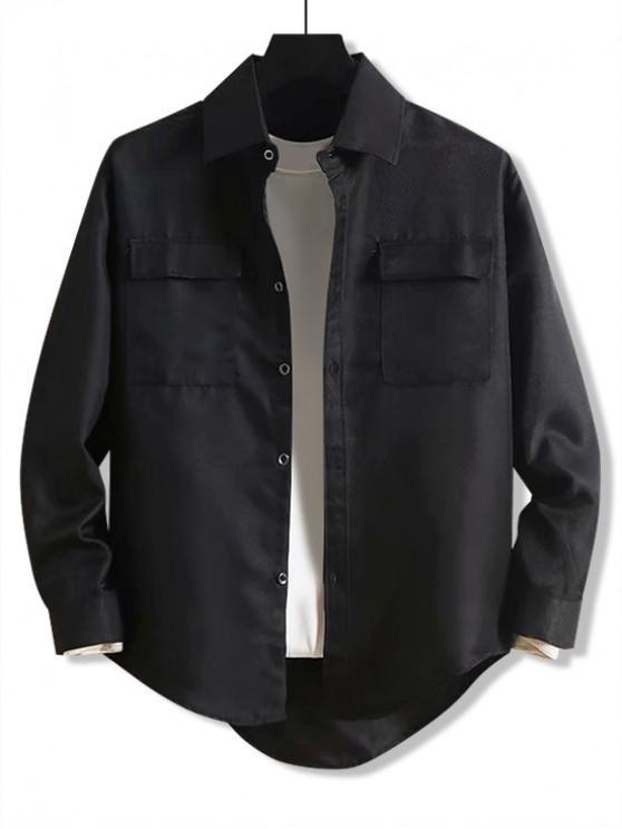 Shirt Solid Scrisoare de broderie de buzunar High Low - Negru M
