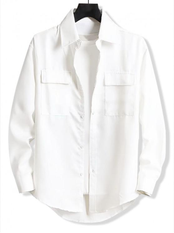 womens Solid Letter Embroidery Pocket High Low Shirt - WHITE L