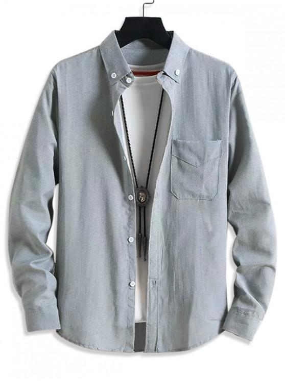hot Solid Pocket Casual Long Sleeve Button Shirt - GRAY XS