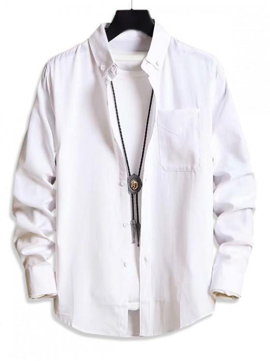 Solid de buzunar casual cu maneci lungi camasa buton - alb L