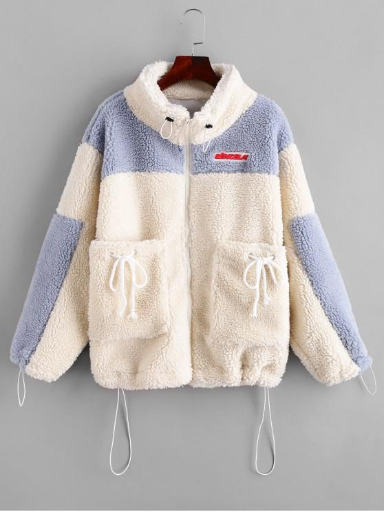outfit Toggle Drawstring Zip Front Colorblock Teddy Jacket - WHITE M