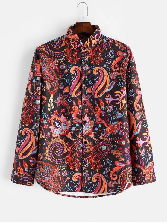 fancy Paisley Flower Allover Print Long Sleeve Button Shirt - MULTI 3XL