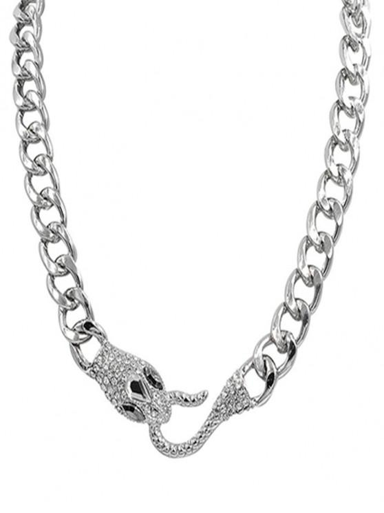 Rhinestone Alloy Snake Necklace - 銀