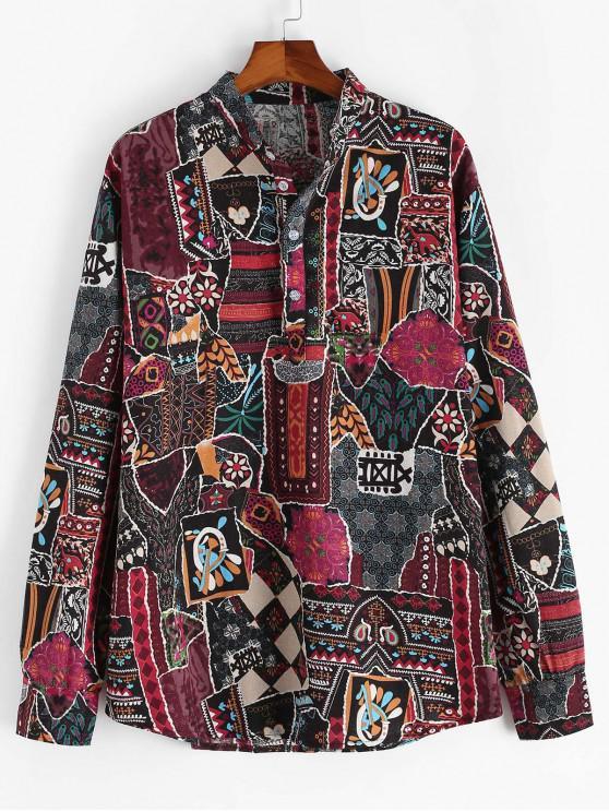 women's Ethnic Print Henley Long Sleeve Shirt - MULTI 2XL