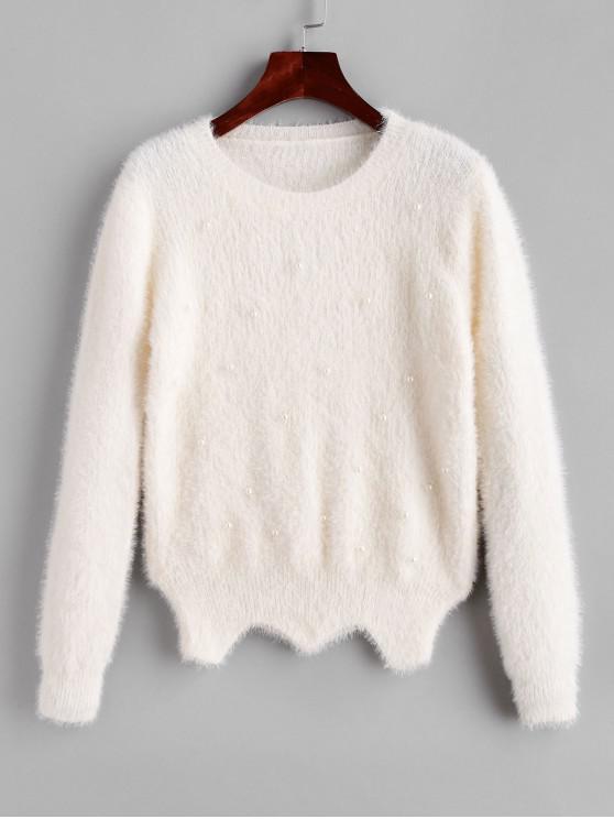 shop Fuzzy Zig Zag Hem Faux Pearls Sweater - WHITE ONE SIZE