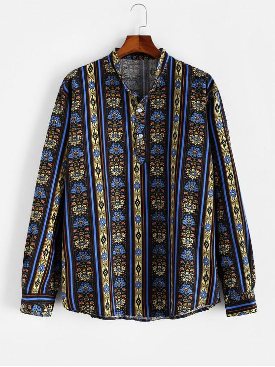 Camisa de Manga Larga con Estampado de Flores Étnicas - Multicolor 3XL