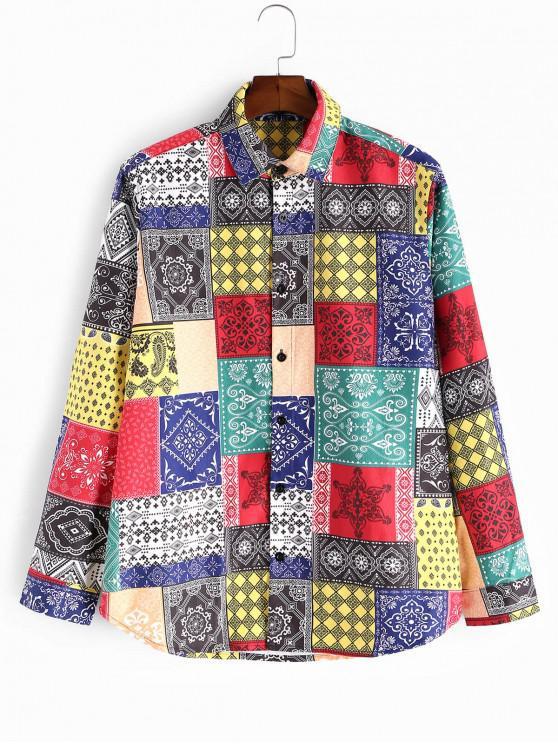 lady Bandana Spliced Print Button Up Shirt - MULTI 3XL