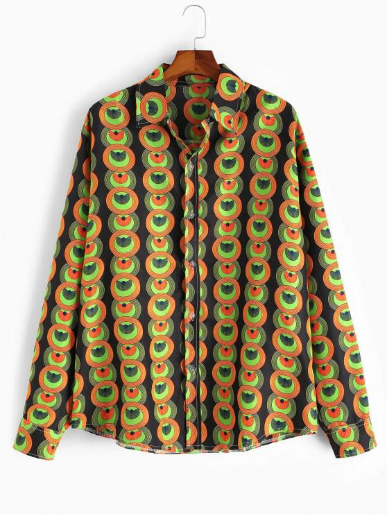 shops Circle Graphic Button Up Ethnic Shirt - MULTI L