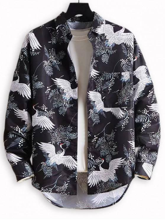 hot Flying Crane Plant Print Drop Shoulder High Low Shirt - MULTI XL