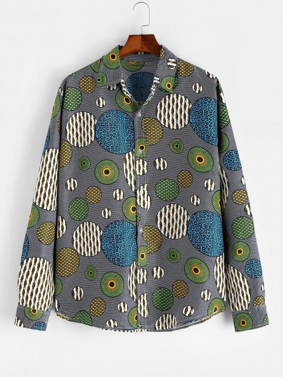 latest Abstract Round Graphic Button Up Ethnic Shirt - MULTI 3XL