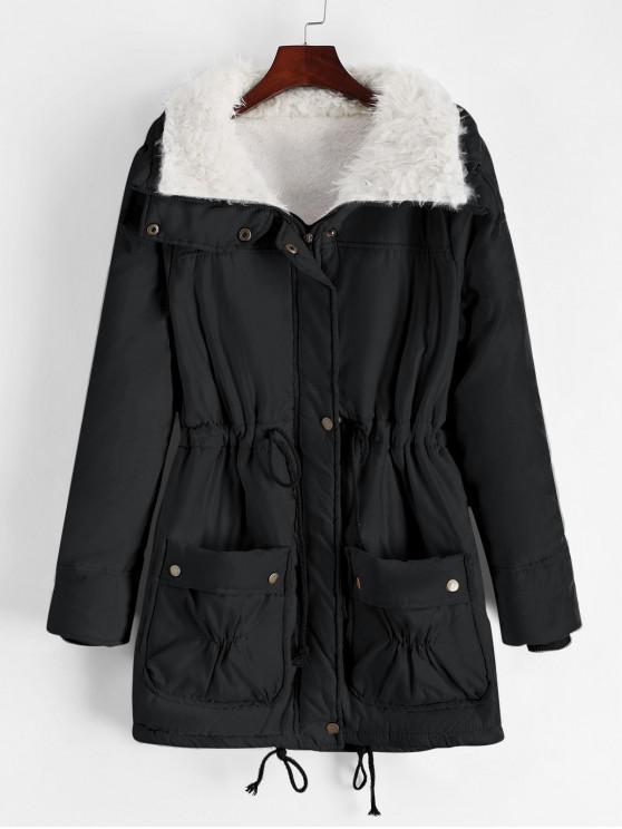 women's Faux Fur Lining Pocket Drawstring Waist Coat - BLACK S