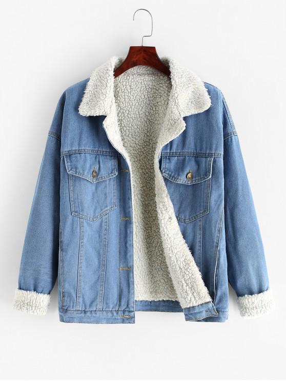 fancy Flap Pockets Button Up Fur Line Denim Jacket - JEANS BLUE M