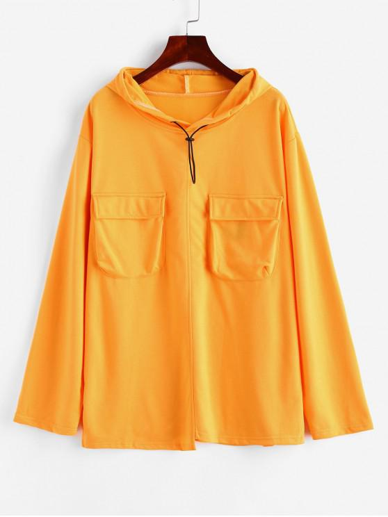 fancy Flap Pockets Slit Toggle Drawstring Cargo Hoodie - YELLOW ONE SIZE