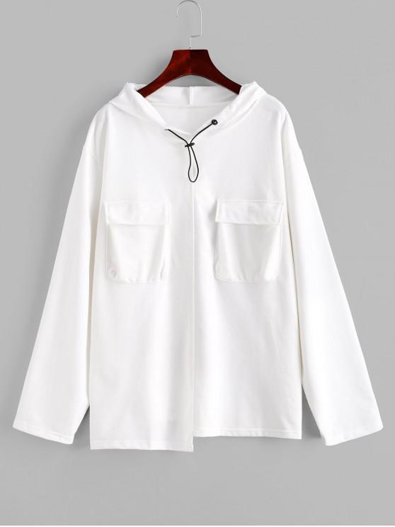 buy Flap Pockets Slit Toggle Drawstring Cargo Hoodie - WHITE ONE SIZE