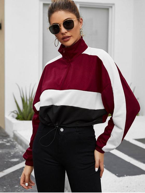best Toggle Drawstring Half Zip Colorblock Sweatshirt - RED WINE S