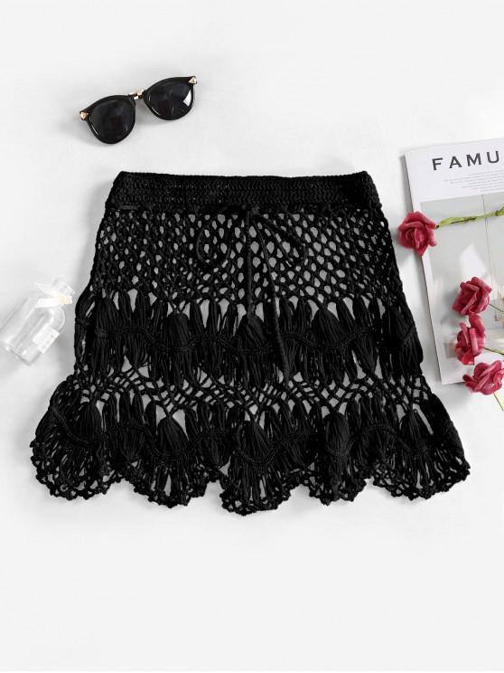 affordable Scalloped Edge Crochet Skirt - BLACK M