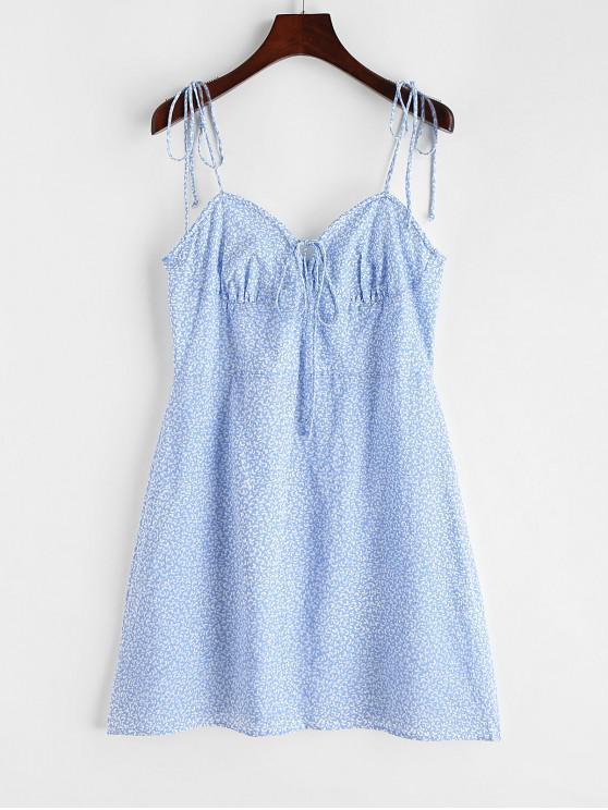 lady Leaves Print Cami Mini Dress - BLUE M