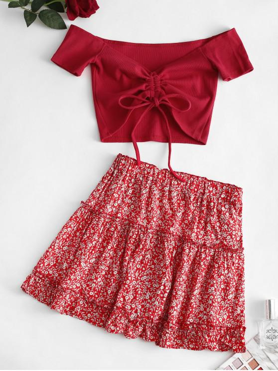 best Ditsy Print Off Shoulder Cinched Ruffle Skirt Set - RED S
