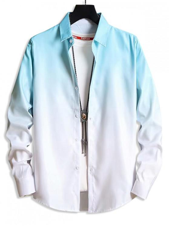 outfit Ombre Button Up Lounge Shirt - LIGHT BLUE XS