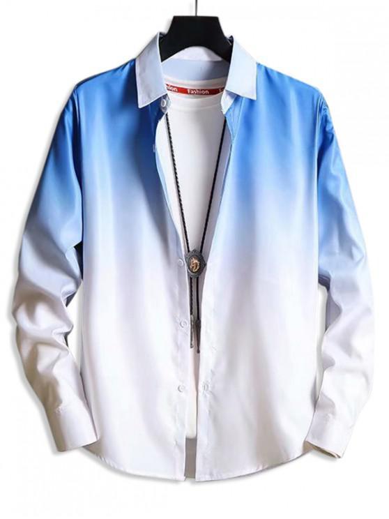 ladies Ombre Button Up Lounge Shirt - BLUE S