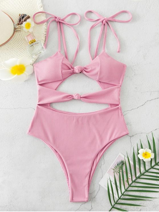 unique ZAFUL Ribbed Knot Tie Shoulder High Cut Swimsuit - PINK ROSE S