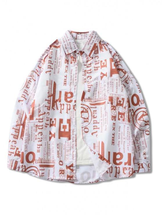 fancy Letter Graphic Print Pocket Drop Shoulder Button Shirt - MULTI L