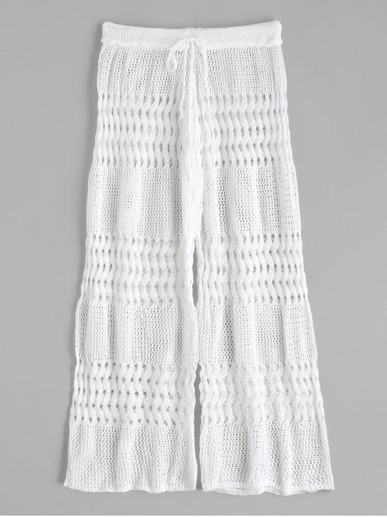 shop High Waisted Drawstring Crochet Knit Beach Pants - WHITE ONE SIZE