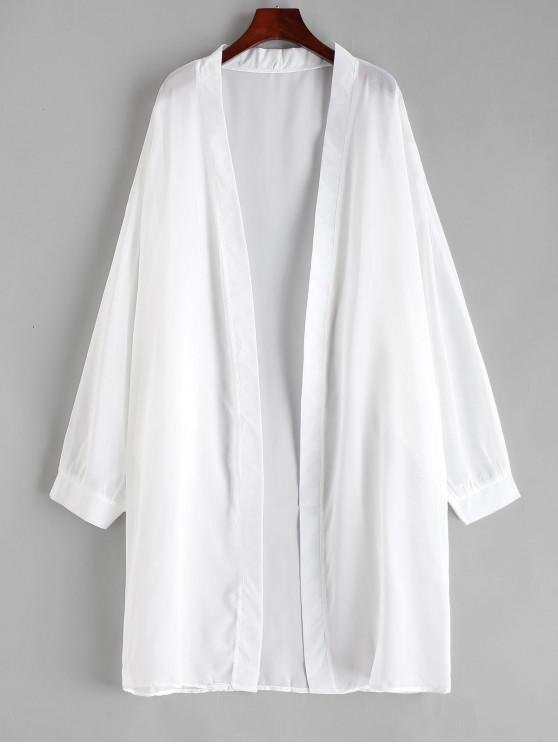latest Semi-sheer Long Sleeve Chiffon Cover-up - WHITE ONE SIZE