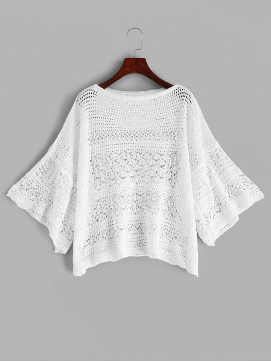 trendy Slash Neck Crochet Top - WHITE ONE SIZE