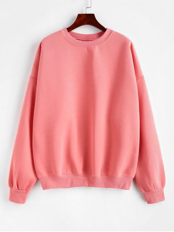 chic Loose Drop Shoulder Plain Pullover Sweatshirt - PINK ONE SIZE