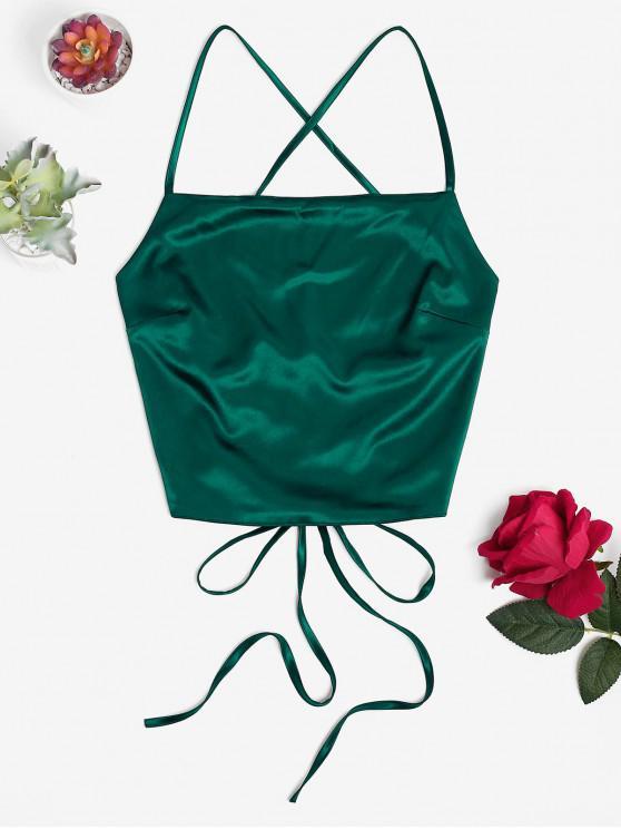 women Criss Cross Backless Crop Tank Top - GREEN S