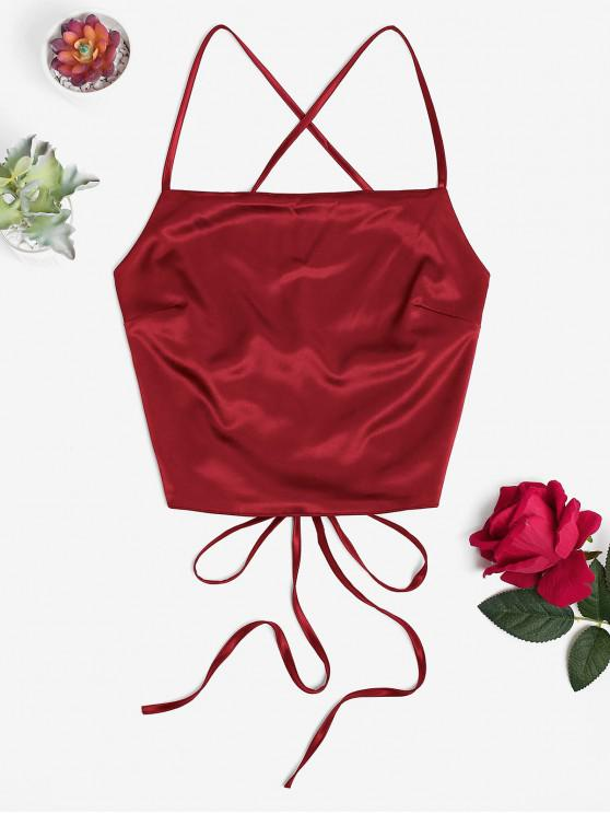 womens Criss Cross Backless Crop Tank Top - RED WINE L