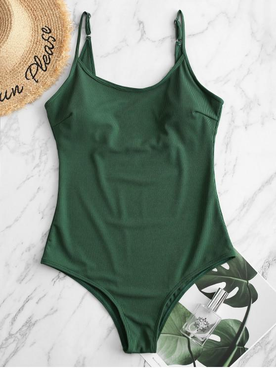 sale ZAFUL Ribbed Cami Backless One-piece Swimsuit - DEEP GREEN S