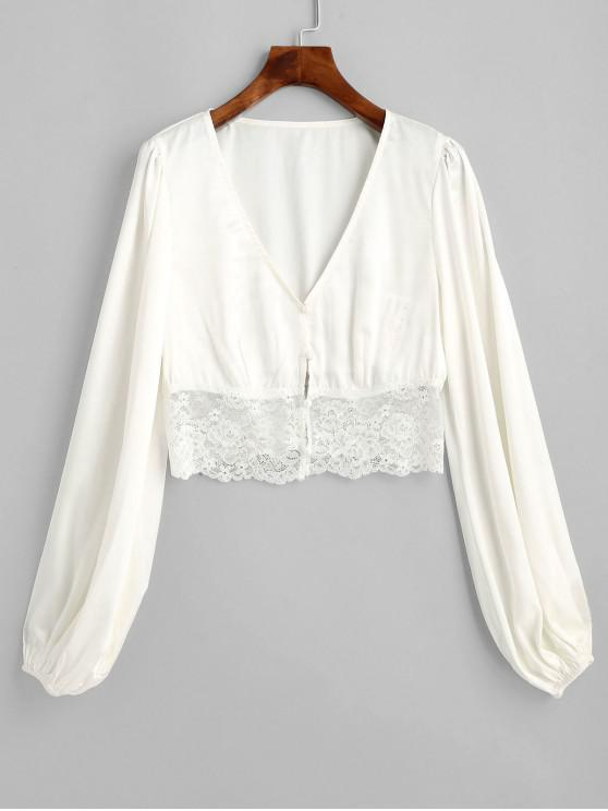 online ZAFUL Lace Insert Plunging Crop Blouse - WHITE M
