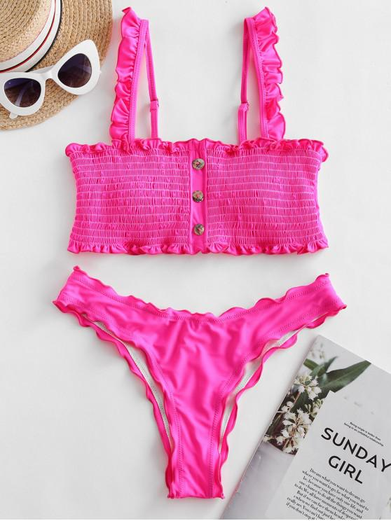 Buton ZAFUL Impodobit Bikini Set Smocked - Hot roz L