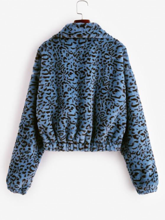 Leopard Print Half Zip Fluffy Sweatshirt - Multi-a Xl | ZAFUL