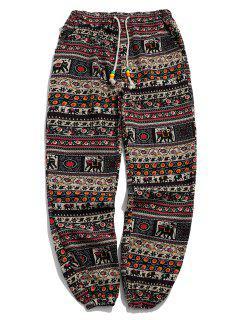 Ethnic Tribal Ditsy Graphic Print Casual Jogger Pants - Multi-c Xl