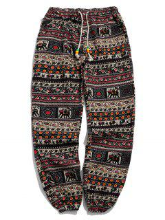 Ethnic Tribal Ditsy Graphic Print Casual Jogger Pants - Multi-c S
