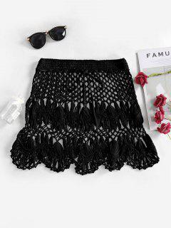 Scalloped Edge Crochet Skirt - Black M