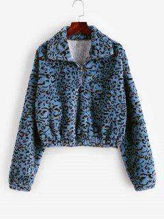 Leopard Print Half Zip Fluffy Sweatshirt - Multi-a Xl