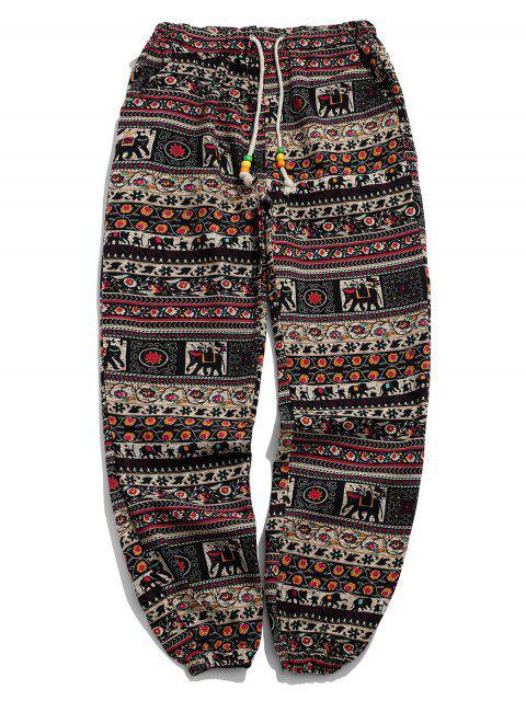 unique Ethnic Tribal Ditsy Graphic Print Casual Jogger Pants - MULTI-C XL Mobile