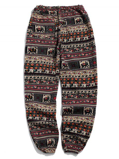 chic Ethnic Tribal Ditsy Graphic Print Casual Jogger Pants - MULTI-C M Mobile